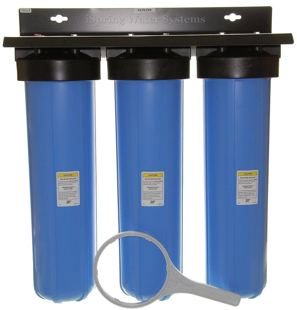 iSpring WKB32B Three Stage 20-Inch Big Blue Whole House Water Filtration System
