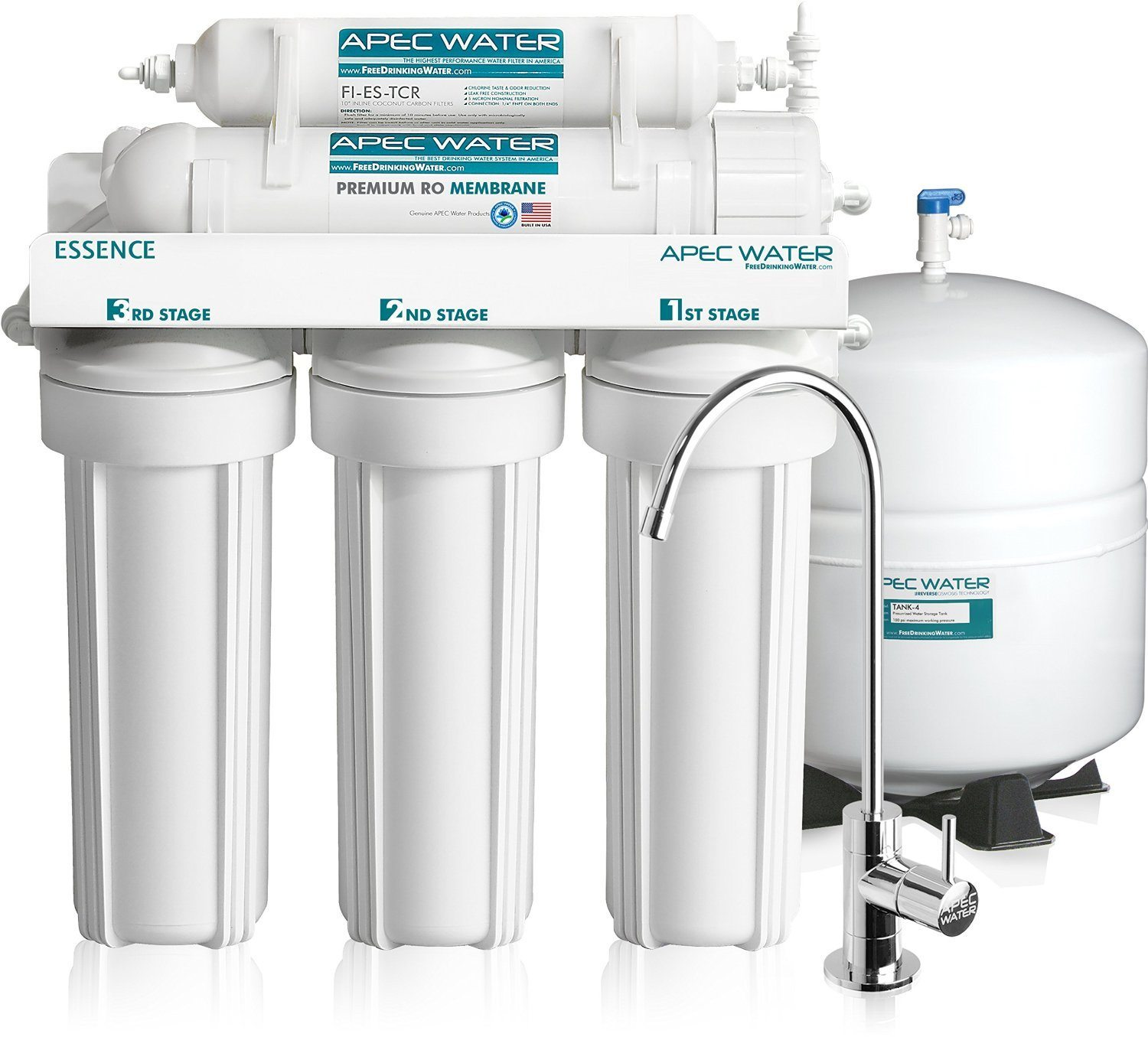 APEC Top Tier Revese Osmosis System with additional faucet for filtered water, Best 2020 Under Sink Water Filters