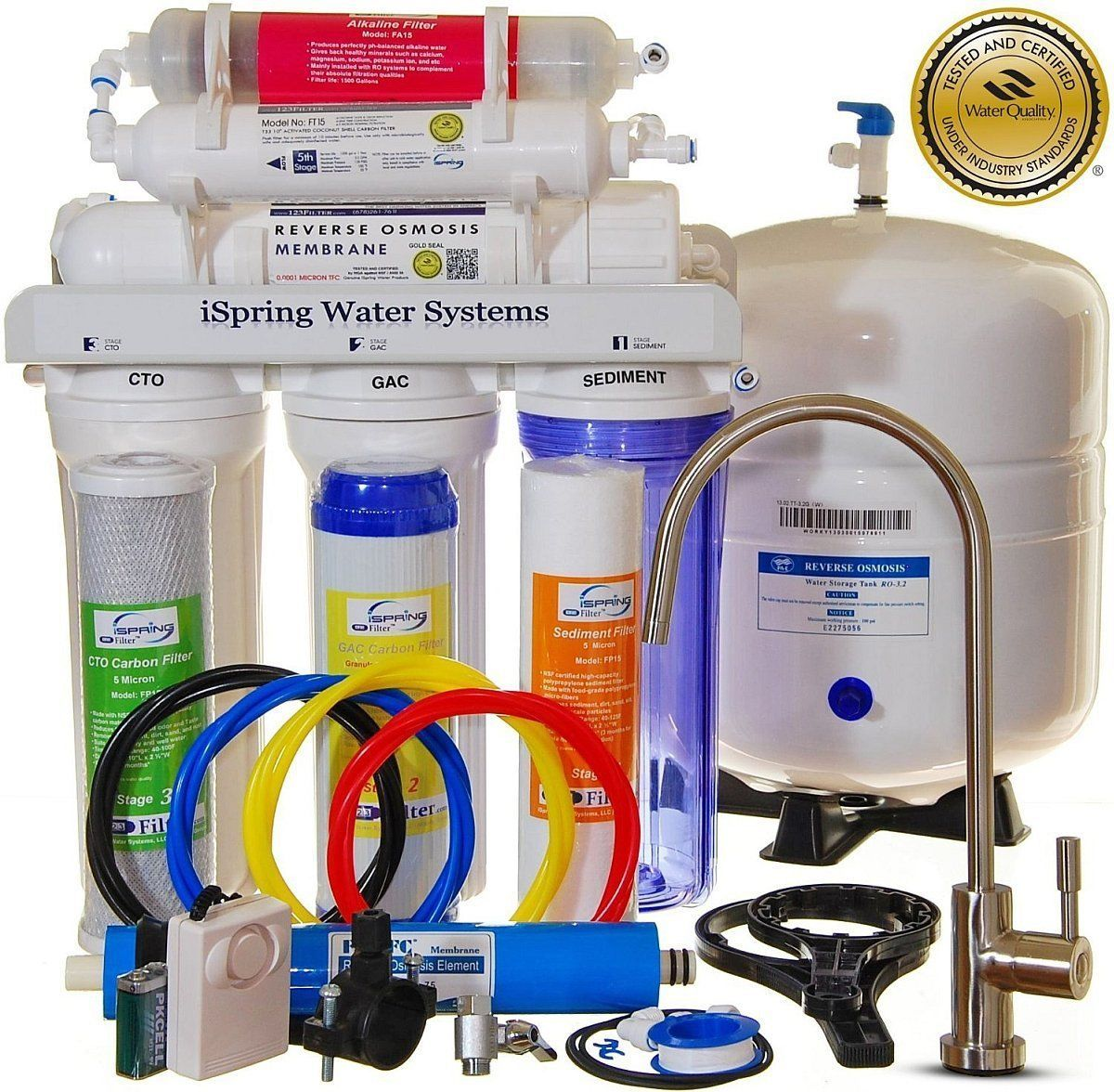 ISpring RCC7AK Reverse Osmosis System with additional faucet and water pressure pump