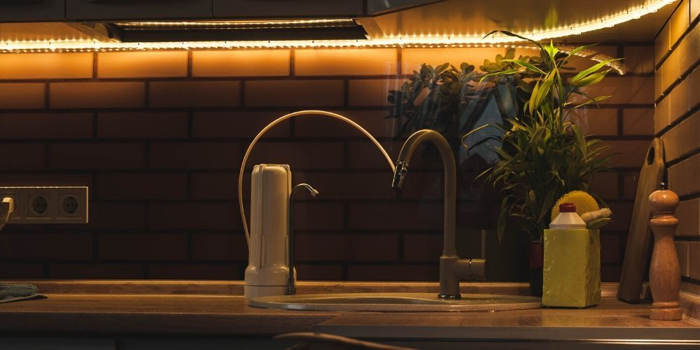 countertop water filter system in kitchen